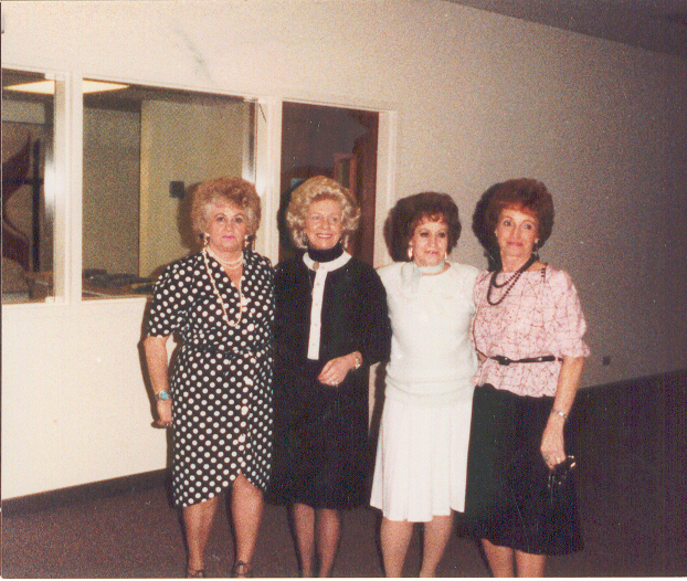 Sisters at a funeral, 9 March 1991, Burley, Idaho, Colleen, Sergene, June, Millie.