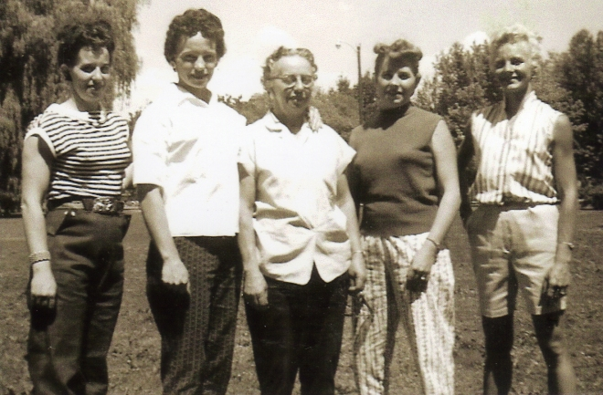 June, Millie, Mary, Colleen, Sergene, about 1956.
