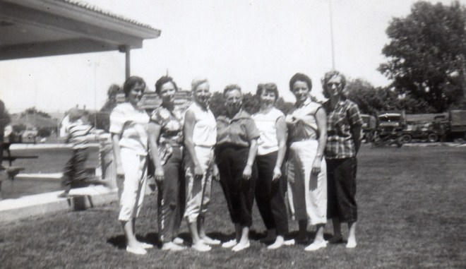 1959 Andra Reunion, Phyllis (Don), Utahna (Golden), Sergene, Mary, Colleen, Millie, Edith (Bill).