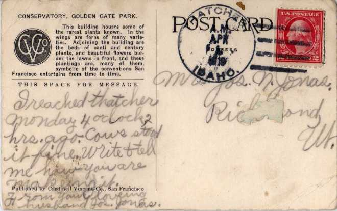 Postcard from Joseph Jonas to his wife, Lillian Coley Jonas.