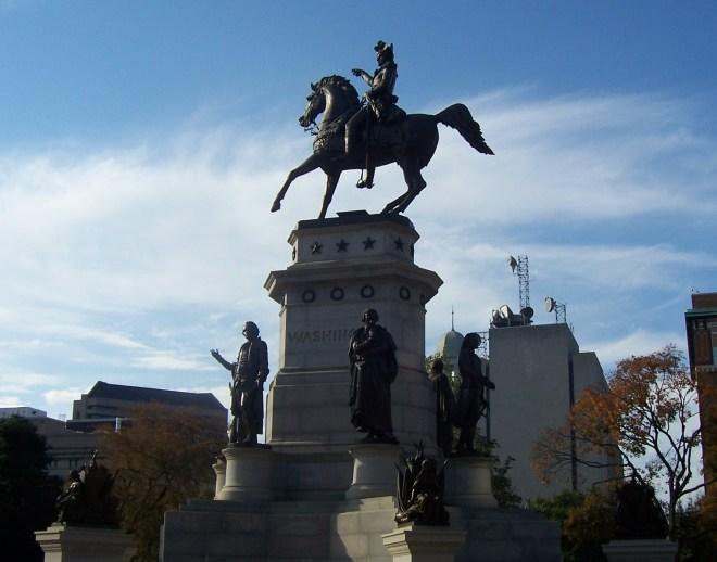 Washington Equestrian Statute with Jefferson standing in front