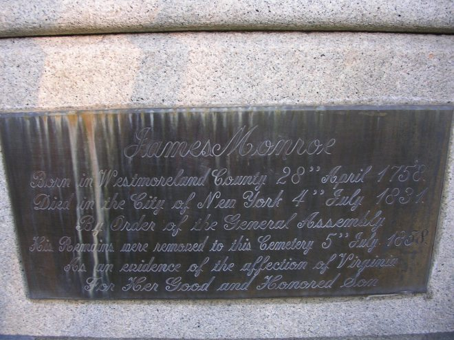 Plaque on James Monroe's tomb