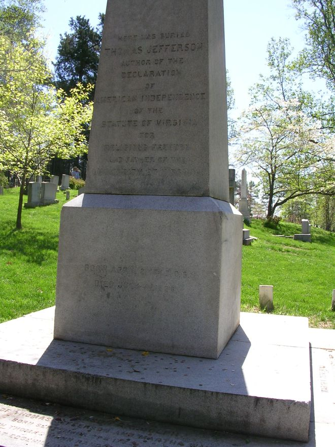 Thomas Jefferson's tombstone near Charlottesville, Virginia