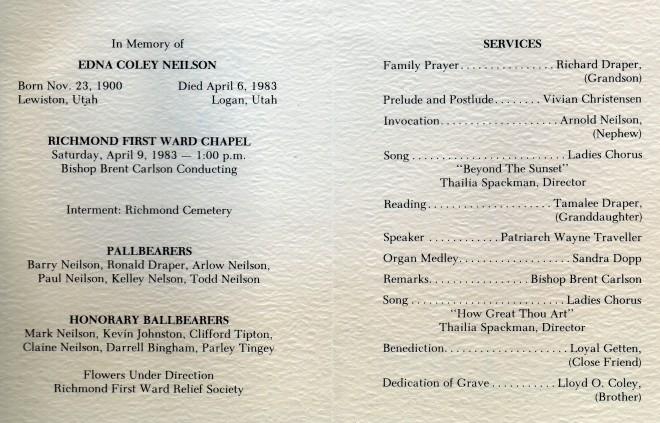 Edna's funeral program