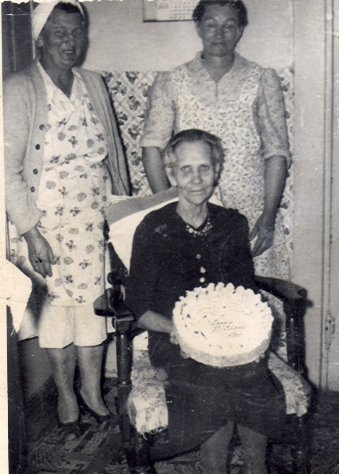 Lillian, Edna, Martha (sitting) Coley in the 1940's