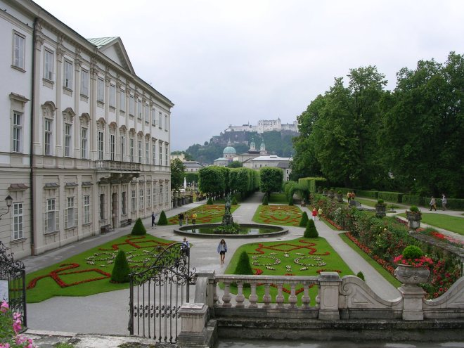 Some of the gardens at Mirabell Palace in Salzburg, Austria