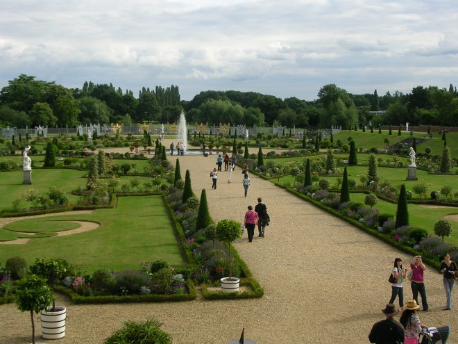 The garden of Hampton Court Palace, former home of Kings and Queens of England