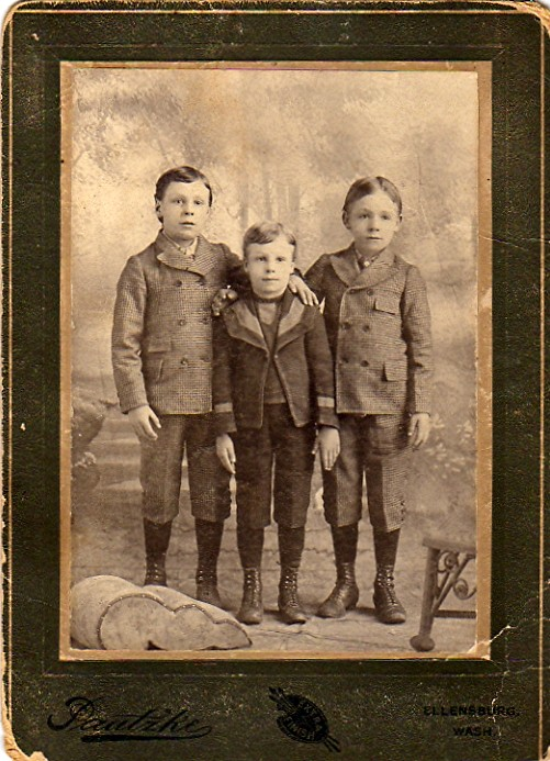 John, Joseph, and William Jonas probably right before moving to Utah in 1901.  The photo is stamped with Ellensburg on the matting.