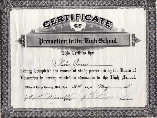 Irwin High School Certificate