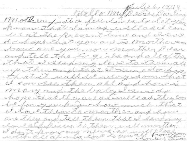 Irwin Jonas Letter 1944 Jul 6